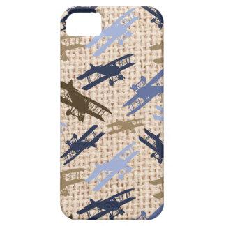 Motif vintage d'avion d'impression de toile de jut coque Case-Mate iPhone 5