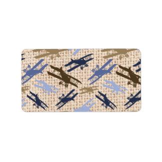 Motif vintage d'avion d'impression de toile de jut étiquettes d'adresse