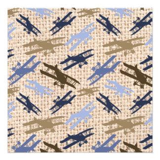 Motif vintage d'avion d'impression de toile de jut faire-part personnalisé