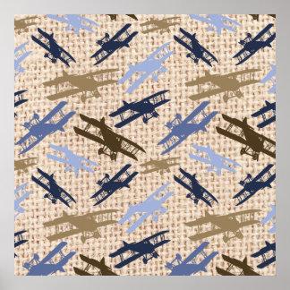 Motif vintage d'avion d'impression de toile de jut poster