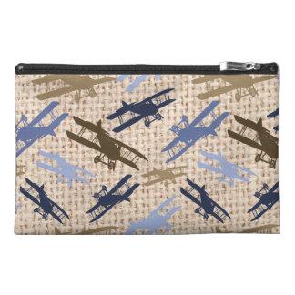 Motif vintage d'avion d'impression de toile de jut trousses à accessoires de voyage