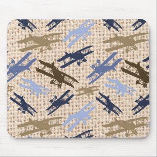 Motif vintage d'avion d'impression de toile de jut tapis de souris