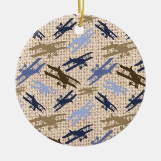 Motif vintage d'avion d'impression de toile de ornement rond en céramique