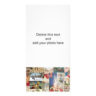 Motif vintage de vacances de cartes de Noël Cartes De Vœux Avec Photo