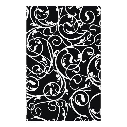 motif vintage noir et blanc l gant de damass papier lettre customisable zazzle. Black Bedroom Furniture Sets. Home Design Ideas