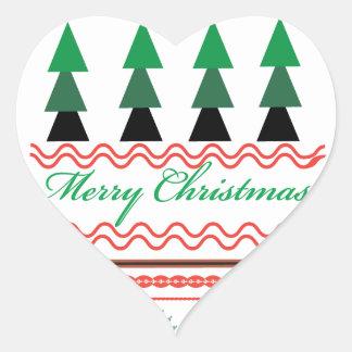 Motifs géométriques de Noël lunatique Autocollant En Cœur
