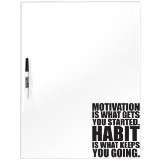 Motivation gegen Gewohnheit - Workout motivierend Trockenlöschtafel