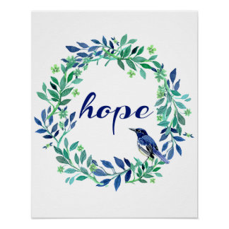 """Motivierend Sprichwort """"Hoffnung"""" mit Vogel und Poster"""