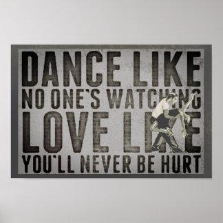 Motivierend Tanzen-Paar-Slogan Poster