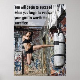 Motivierend weibliches Fitness-Turnhallen-Plakat Poster