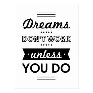 Motivierend Wörter über Träume und Arbeit Postkarte