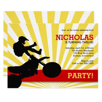 Motocross Dirtbike Einladung, Gelb und Rot Karte