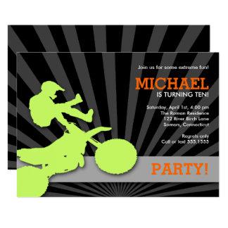 Motocross Dirtbike Einladung, Grün und Orange Karte