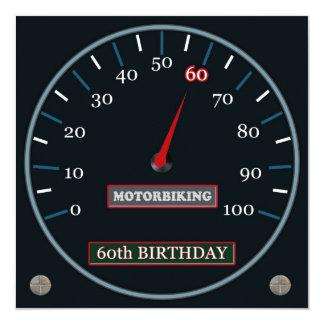 Motorbiking 60. Geburtstags-Einladung Quadratische 13,3 Cm Einladungskarte