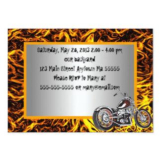 Motorcyle flammt Geburtstags-Einladung