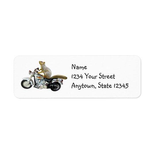 Motorrad-Eichhörnchen-Rücksendeadressen-Aufkleber Rücksendeetikett