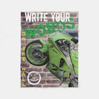 Motorrad-Graffiti-Wand-Decke Kawasakis grüne Fleecedecke
