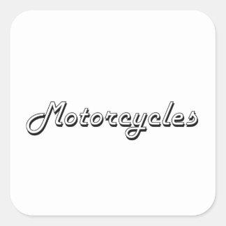 Motorrad-klassischer Retro Entwurf Quadratischer Aufkleber