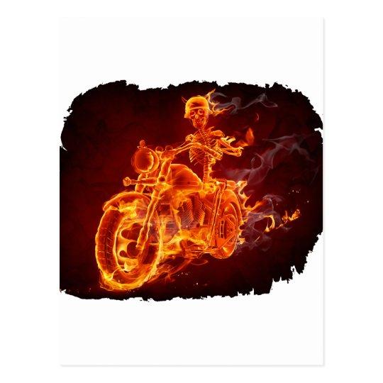 Motorrad-Radfahrer - Skelett Postkarte