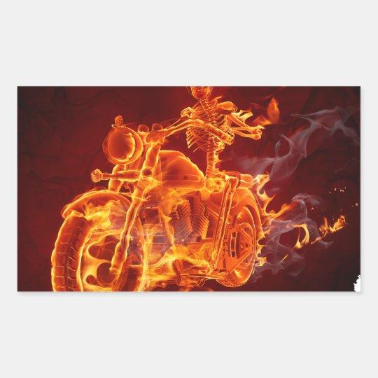 Motorrad-Radfahrer - Skelett Rechteckiger Aufkleber