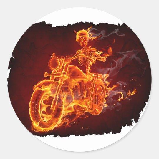Motorrad-Radfahrer - Skelett Runder Aufkleber