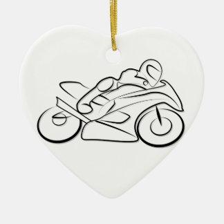 Motorrad Rennen fahren Keramik Herz-Ornament