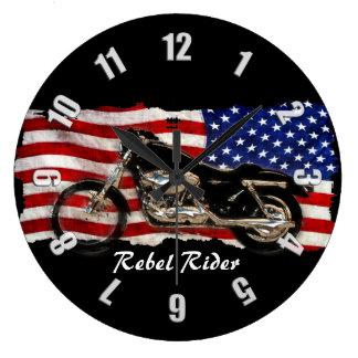 Motorrad u. US-Flaggen-Entwurf Große Wanduhr