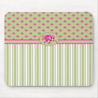 Mousepad floral rose et vert Girly Tapis De Souris