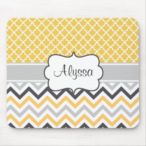 mousepad personnalis par chevron gris jaune tapis de souris zazzle. Black Bedroom Furniture Sets. Home Design Ideas