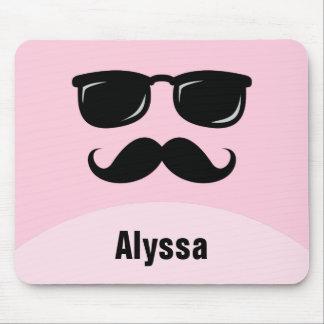 Mousepad rose personnalisé drôle avec la moustache tapis de souris