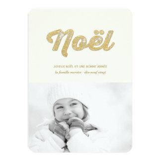 Mousseux Paillettes Joyeux Noël Carte-Foto d'or 11,4 X 15,9 Cm Einladungskarte