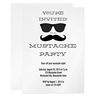 Moustache d'amusement et invitation noires de