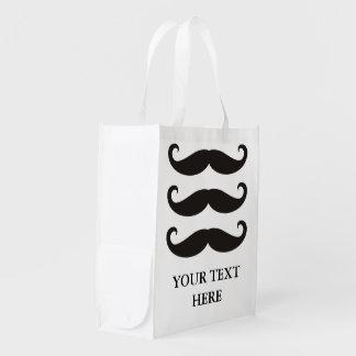 Moustache drôle/Schnurrbart + votre texte Cabas Épicerie