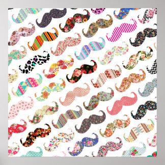 Moustaches colorées Girly drôles de motifs Poster