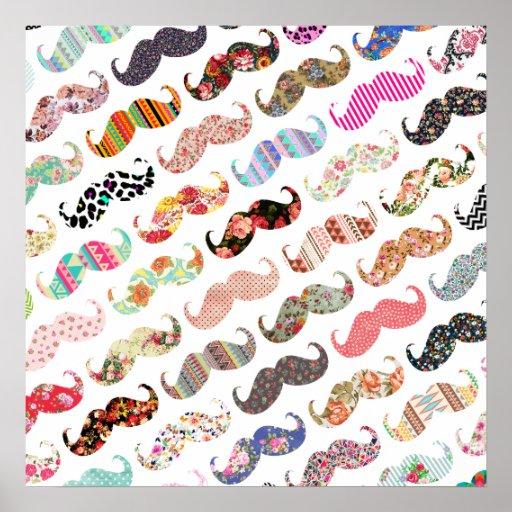 Moustaches colorées Girly drôles de motifs Posters