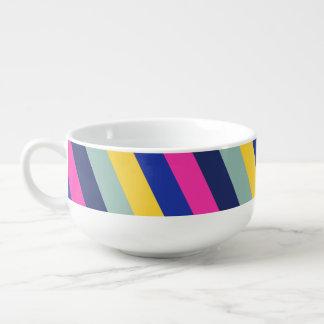 Mug À Soupe Motif jaune rose coloré élégant de rayures bleues