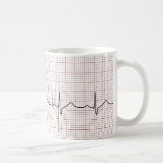 Mug Battement de coeur d'ECG sur le papier de