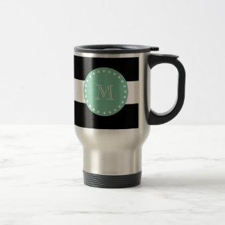 Mug De Voyage Motif noir de rayures, monogramme vert en bon état