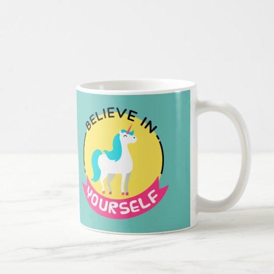"""Mug La licorne """"croient en vous-même"""" le dessin de"""