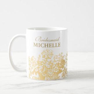 Mug Or nuptiale de panier floral de faveur de douche