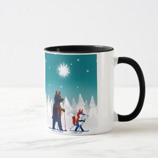 Mug Ski mignon d'ours et de Fox sous des étoiles dans