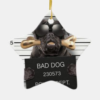 Mugshothund, lustiger Mops, Mops Keramik Ornament