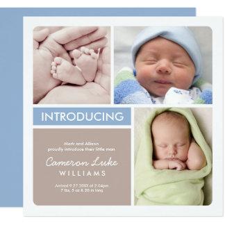 Multi-Foto Geburts-Mitteilungs-Karte| blauer Taupe Karte