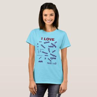 Multi Liebe-Wein-Shirt der Spracheni T-Shirt