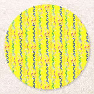 Multi Party-Ausläufer auf Neongelb Runder Pappuntersetzer