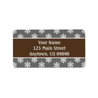 Multi Schneeflocke-Adressen-Etiketten (Brown/Grau) Adressaufkleber