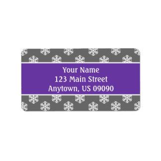 Multi Schneeflocke-Adressen-Etiketten (lila/Grau) Adressetiketten