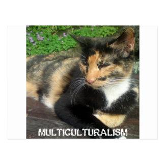 Multikulturalismus-Katze Postkarte