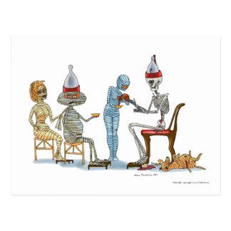 Mummific Skelett-Abendessen Postkarte