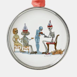 Mummific Skelett-Abendessen Silbernes Ornament